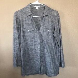 James perse button down jersey knit shirt